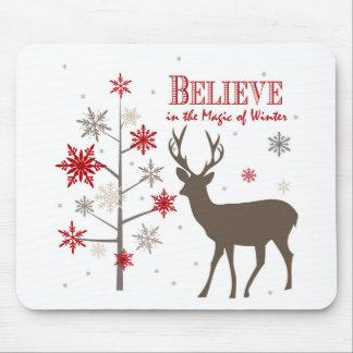 modern vintage rustic deer and snowflakes mouse pad