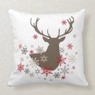 modern vintage rustic deer and snowflakes pillow