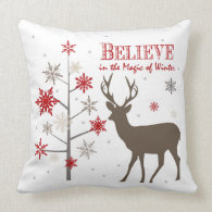 modern vintage rustic deer and snowflakes throw pillow