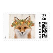 Modern Vintage rustic fall fox postage stamp