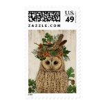 Modern vintage rustic fall owl postage stamp
