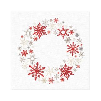 Modern vintage rustic snowflake wreath |monogram canvas print