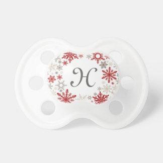 Modern vintage rustic snowflake wreath |monogram pacifier