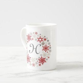 Modern vintage rustic snowflake wreath |monogram tea cup