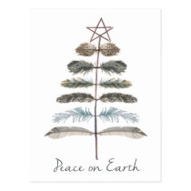 modern vintage rustic winter feather tree postcard