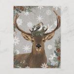 """modern vintage rustic woodland winter deer postcard<br><div class=""""desc"""">modern vintage rustic woodland winter deer</div>"""