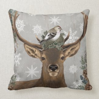 modern vintage rustic woodland winter deer throw pillow