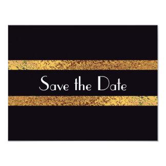 Modern Vintage Save the Date Black&Gold Wedding Card