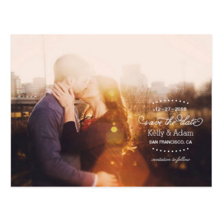Modern Vintage Script Full Photo Save the Date Postcard