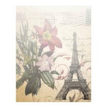 modern vintage scripts lily Paris Eiffel Tower Letterhead