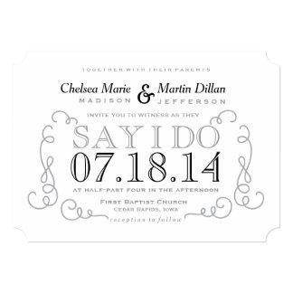 Modern Vintage Scroll Wedding Invitation Template