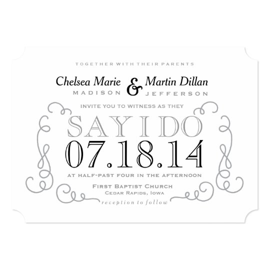 modern vintage scroll wedding invitation template zazzle com
