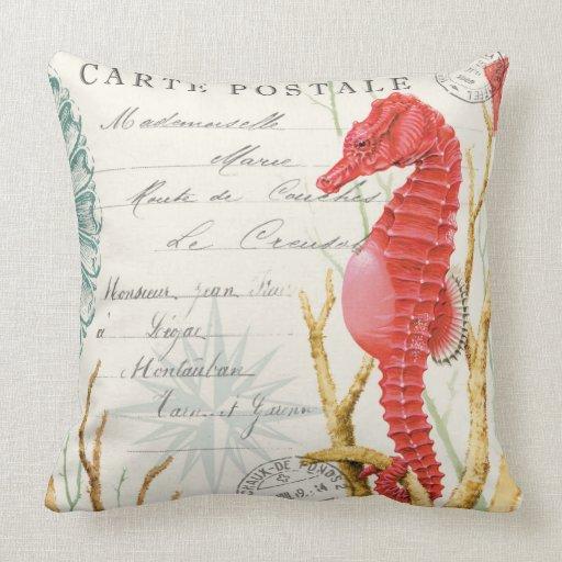 Modern Retro Pillows : modern vintage seahorse throw pillow Zazzle