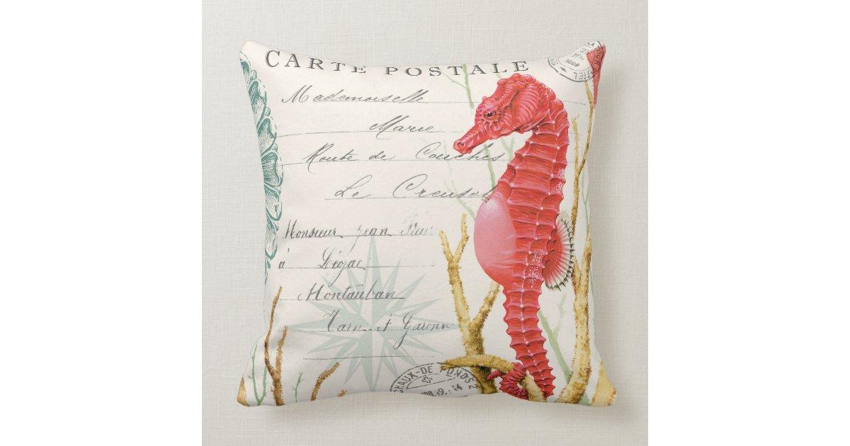 modern vintage seahorse throw pillow Zazzle
