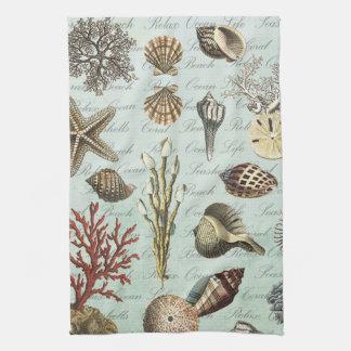 Modern Vintage Seashells Towels