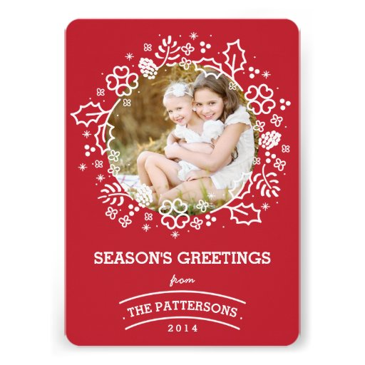Modern Vintage Season's Greetings Photo Card   Red