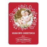 Modern Vintage Season's Greetings Photo Card   Red Custom Invite