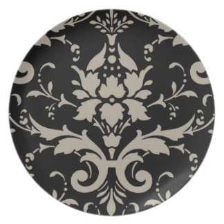 Modern Vintage Silver Damask on Black Dinner Plate