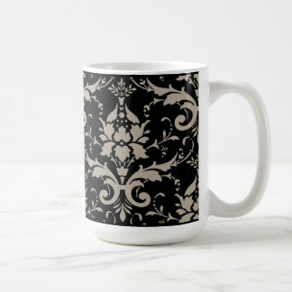 Modern Vintage Silver Damask on Black Mug