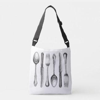 modern vintage silverware crossbody bag