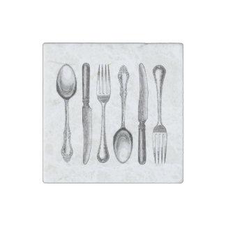 modern vintage silverware stone magnet