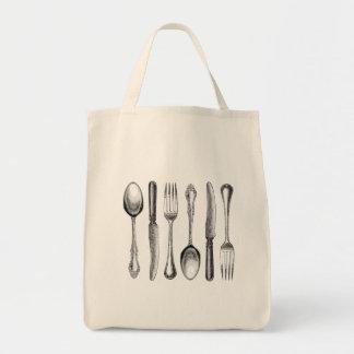 modern vintage silverware tote bag