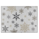 modern vintage snowflakes cutting board