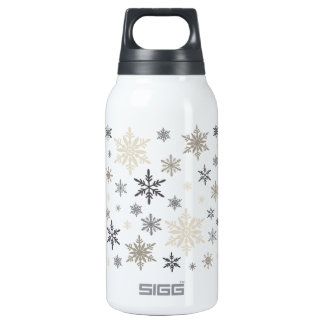 modern vintage snowflakes insulated water bottle