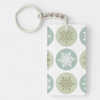 modern vintage snowflakes keychain