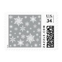modern vintage snowflakes postage