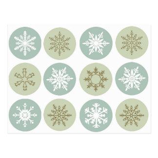modern vintage snowflakes postcard