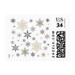 modern vintage snowflakes stamps