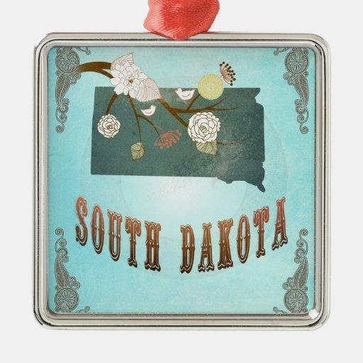 Modern Vintage South Dakota State Map – Aqua Blue Christmas Tree Ornament