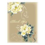 modern  vintage spring floral wedding thank you postcard