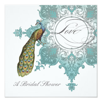Modern Vintage Swirl Baroque Peacock Bridal Shower Personalized Announcements