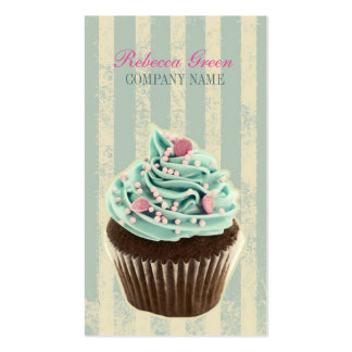 modern vintage teal  bakery dessert cupcake Double-Sided standard business cards (Pack of 100)