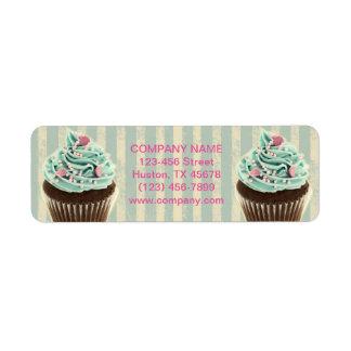 modern vintage teal  bakery dessert cupcake label