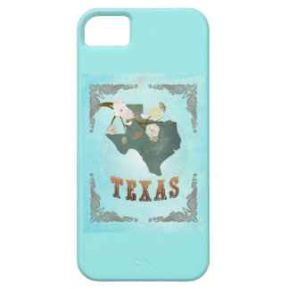 Modern Vintage Texas State Map – Aqua Blue iPhone 5 Cover