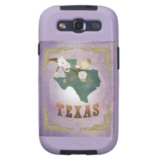 Modern Vintage Texas State Map- Sweet Lavender Galaxy S3 Covers
