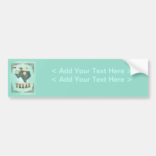 Modern Vintage Texas State Map – Turquoise Blue Bumper Sticker