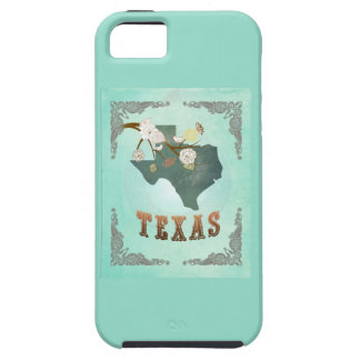Modern Vintage Texas State Map – Turquoise Blue iPhone 5 Covers