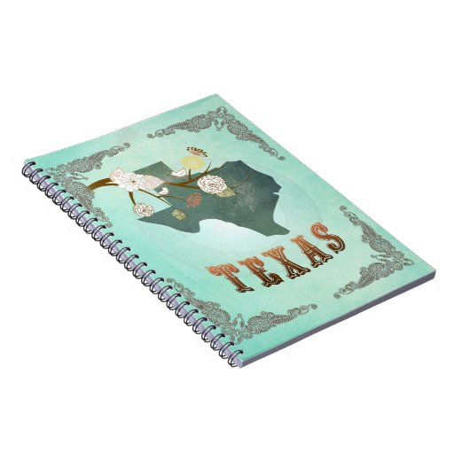 Modern Vintage Texas State Map – Turquoise Blue Notebook