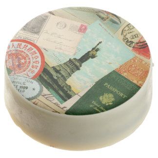 modern vintage travel collage chocolate dipped oreo