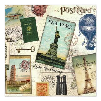 "modern vintage travel collage 5.25"" square invitation card"