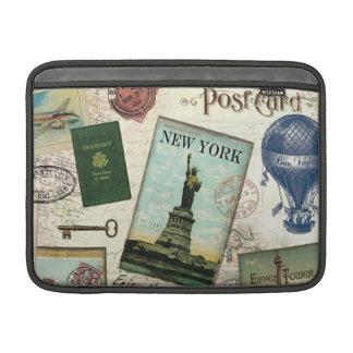modern vintage travel collage sleeve for MacBook air