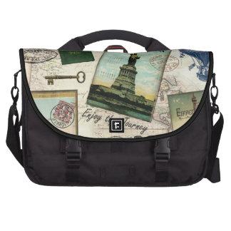 modern vintage travel collage laptop bag