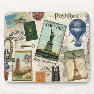 modern vintage travel collage mouse pad