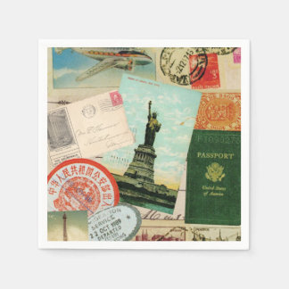 modern vintage travel collage napkin