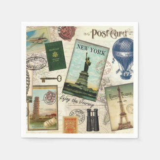 modern vintage travel collage paper napkin
