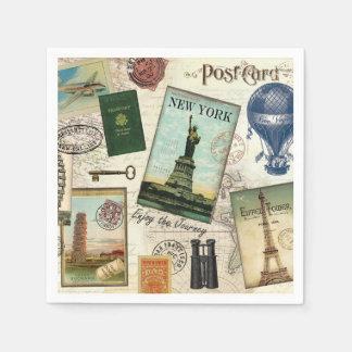 modern vintage travel collage standard cocktail napkin